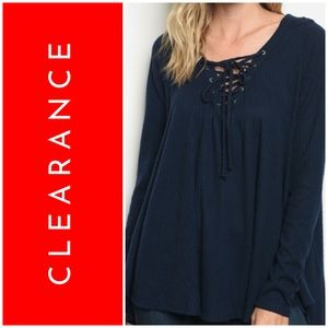 SOFT NAVY LACE UP HOODIE